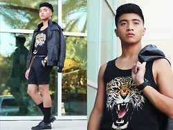 AJ O'Day - Forever 21 Tiger Tank, H&M Dress Shorts, Karmaloop Leather Jacket - B.A.D.