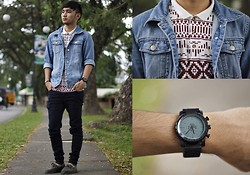 Stephen Garcia - Topman Button Down Shirt, Sperry Topsider, Thrift Store Denim Jacket - Double Trouble