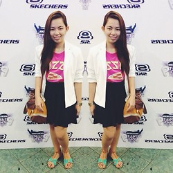 Maria Inah Requerme - Thrifted White Blazer, The Yellow Label Pink Pizza Top, Cinta Manila Navy Blue Skater Skirt, Sophie Paris Brown Shoulder/Sling Bag, Solemate Teal Sandals - Pizza Parteeeey