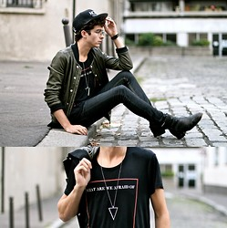 "Matthias C. - Iro Leather Jacket, Kinder & Tank Modal Tee, Fashionology Necklace, Cheap Monday Jeans, Nozo Cap - ""Polygon"""