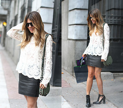Cabinet in Ruins * - Suiteblanco Top, Sandro Skirt, Rebecca Minkoff Bag, Zara Booties - Laced top!!