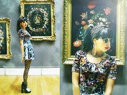 Barbara Malewicz - Asos Cut Out Sunnies, H&M Flowery Top, H&M Flowery Skirt, Wolford Graphic Flower Print Tights, Vintage Leopard Turban, Asos High Heels Creepers With Ponyhair - Arty Gipsy in bloom