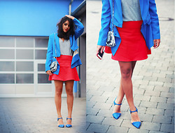 Naina Kamath - 3.1 Phillip Lim Silk Blazer, Asos Gray Sweatshirt, Zara Red Flare Skirt, Zara Leather Heels - Coordinate