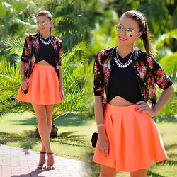 Renata M.. - Sheinside Blouse, Preska Top, Preska Skirt, C&A Sandals - Neon orange skirt and crop top