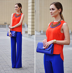 Karina P. - Zara Necklace, Warehouse Bag - Colour blocking
