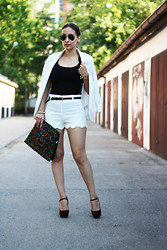 Jovana Bovan - Romwe Shorts, Miu Shoes - The white suit