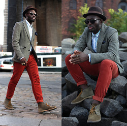 STEVEN ONOJA - Clarks Shoes, Club Monaco Pants, Zara Pocket Square, Tommy Hilfiger Shirts, Raen Optics Eyewear, Capas Design Hat, Who.A.U Blazer - The Philadelphia Story