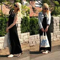 Bianca S - H&M Denim Jacket, Gina Tricot Long Dress, Ruhr Reggae Summer Festival Bag, Noname Flats, Ebay Spike Necklace, Cubus Sunglasses - It's all about being maxi