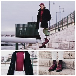 Post-Puŋk L0v3R - H&M Peacoat, Fred Perry Vintage+ Rare Oxblood Pique, Dr. Martens Dr Oxblood Steel Toe Cap Boots, Vintage White Jeans, Vintage Thin Braces - Like A Skin But My Coat is Unfortunatley Not A Crombie