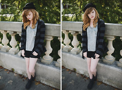 Violet Short - Choies Hat, Urban Outfitters Shirt, Forever 21 Cardigan, Forever 21 Shorts, Mossimo Shoes - Black Cat Style