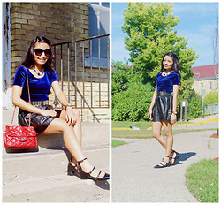 Now That's Chic - Forever 21 Top, Manuel Rose Belt - Velvet Blue X Giveaway