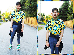 Joseff Lopez (Seffinisto) - Kenzo Leopard Casual T Shirt, Topshop Aztec Jacquard Cropped Shirt, Vintage Blue Plaid Cropped Pants, New Balance Yacht Club 574 Green Shoes - ROAR