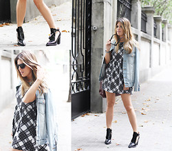 Cabinet in Ruins * - Zara Ankle Boots, Yves Saint Laurent Sunnies, Double Agent Dress, Asos Jacket - PLAID dRESS