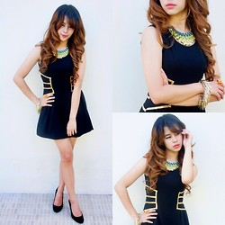 Princess T - Nasty Gal Mosaic, Make Me Chic Spikey Bracelet, Gucci Studded Heels - Black and Gold Collide