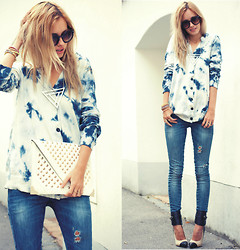 Daisy R. - Wholesale7 Shoes, Frontrowshop Tie Dye Blouse - COOL BLUE