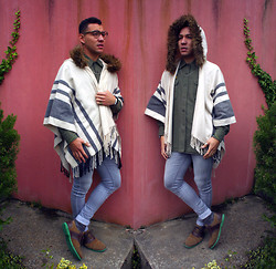 Phoenix Martinez - Gw Round Glasses, H&M Skinny Jeans, River Island Hooded Poncho - Bring the Andes to your porch