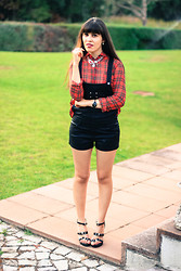 Catarine Martins - Bershka Leather Overall, Mango Tartan Shirt - Tartan Obsession