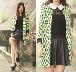 Mayo Wo - Awwdore Rhombus For All Cardigan, Romwe Lace Top, Randa Studded Loafers With Bows - Rhombus