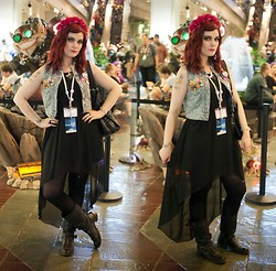 Molly McIsaac - Choies Denim Vest, Thrifted Buckle Boots, Bunny Farm Flower Crown, Pokemon Badges, Black Hi Low Dress - Convention Style: PAX Prime 2013