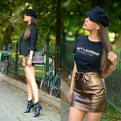 "Tamara Chloe - H&M Skirt, La Strada Shoes, Vanilia Blazer, H&M Hat, Mason And Noah Tee - ""Ain't Laurent Without Yves"""
