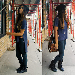 Samantha San Antonio - Urban Outfitters Black Beanie, Audrey 3 Plus 1 Assymetrical Skull Top, Bullhead Black Skinny Jeans, Combat Boots, Cole Haan Messenger Bag - Gang bang suicide.