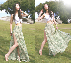 Cissy Zhang - Topshop Floral Maxi Skirt, White Crop Top - Grass under your feet
