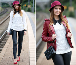 Sabrina K. - Oasap White Blouse, Zara Bag, Frontrowshop Fake Leather Jacket - When you come around I get paralyzed!