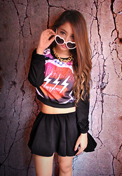 Queenie A. - Androgyne Cropped Pullover, Black Skater Skirt, Heart Sunnies, Gold Chain Necklace - There's no time to explain