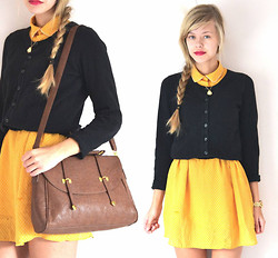 Linnea S - Tjallamalla Dress, H&M Cardigan, Necklace, Marc By Jacobs Watch, Asos Bag - Black and yellow