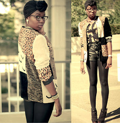 Stephanie Ukpere - Jacket, H&M Leather Shorts, River Island Cheetah Shirt - Lucky Leopard & Leather