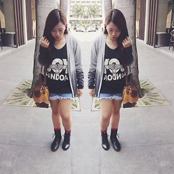Maria Inah Requerme - Boy London Top, Tnc Manila Ombre Cardigan, Sophia Paris Brown Shoulder/Sling Bag, Extraordinaryshop Black Oxford Boots, Forever 21 Striped Socks - You so phresh