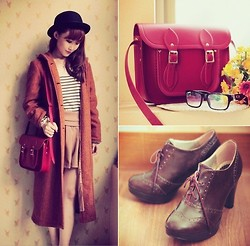 Jasmine L - Thrifted Burnt Orange Coat, Earth, Music & Ecology Striped Shirt, The Cambridge Satchel Company Red, Tls Oxford Bootees - All The Warm Colors