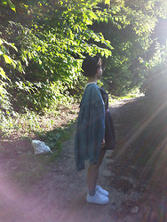 anaïs ▲ - Idk White Platform Shoes, Primark Panda Socks, Levi's® Dad's Levis Jacket, H&M Bowler Hat, River Island Heart Dress, Monki Bag <3 -  everything you say is breaking off.