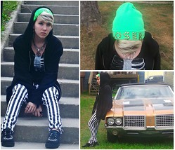 Gwendolyn R. Chandler - American Apparel Diy Studded Neon Green Beanie, Black Sanctuary Cross Necklace, Diy Painted Rib Cage Shirt, Buffalo Exchange Mens Large Zip Up Sweater, Forever 21 Stripped Skinny Jeans, Buffalo Exhange Fake Creepers, Urban Outfitters Black Skull Ring - Grunge Loser.