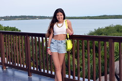 Silvia Fernandez - Uo Denim High Waisted Shorts, American Apparel Top, Zara Necklace - Summaaaah