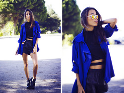 Sofia Reis - Sheinside Jacket, Frontrowshop Top, Stylemoi Shorts, Wholesale7 Boots - Electric sunset