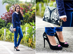 Laureen Uy - The Chameli Necklace, Gap Sweater, Gap Polo, Gap Jeans, Roberto Cavalli Bag, Dolce & Gabbana Pumps - Back to Blue (BMS)