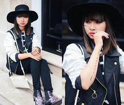 Van Anh L. - River Island Hat, Opening Ceremony Contrast Jacket, Shut Up & Dress Black And White Shirt, Murua Fake Tattoo, Vietnam Bag, Miista Floral Boots - Short-Time Commitment