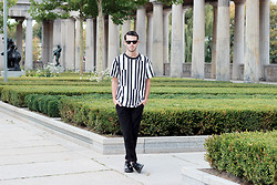 Thibaud G. - Weekday T Shirt, Topman Pants, Prada Levitate Shoes, Ray Ban Sunnies - Stripes
