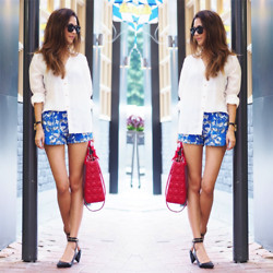 Irena S. - Goodnight Macaroon White Shirt, Topshop Blue Print Shorts, Hermës Kelly Watch, Christian Dior Red Lady, Zara Heels, Hermës Twilly - Scarlet Red VS Royal Blue
