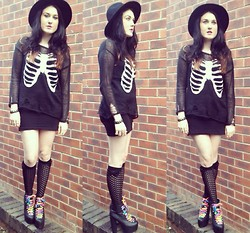 Amelia Rose Hopcroft - Atmosphere Fedora Hat, Wildfox Couture Ribcage Sweater, Atmosphere Knee High Bow Socks - Halloween Baby!