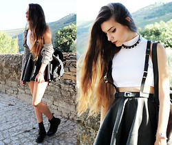 CLAUDIA Holynights - Ebay Turtle Neck Crop Top, Deandri Harness Suspenders, Asos Leather Skirt, Dr. Martens Docs - Misfit