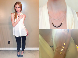 Lea L. - Catalog Connection White Blouse, Black Jeggings, Closed Toe Black Heels, Aldo Black And Gold Chain Necklace, Gold Diamond Ring Bracelet - Little Miss Fashionista