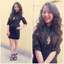 Andita Luan - Black Shirt, Zara Black Skirts, Burberry Woods Wedges, Necklace Of Indian - Black are always sexy!