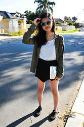 Sue Chung - Valley Girl Studded Army Green Blouse, Ally Top, Ebay Skort, Cotton On Clutch, Cotton On Shades - 6/10