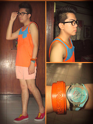 Jace Amornkuldilok - Mint Orange And Blue Tank Top, Chemistry Pale Peach Shorts, Vans Red Sneakers, Sm Accessories Brown Leather Bracelet, Swatch Sky Blue Wristwatch - I Hate Colors! LOL