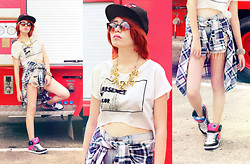Sarah Schadler - Absence Of Color Half Cut Top, Tattered Shorts, Blue Scottish Tartan Plaid Long Sleeves, Dc Shoes Skater, Super! Cat Eye Sunglasses, Chicago Bulls Cap - Don't Change The Way You Think of Me