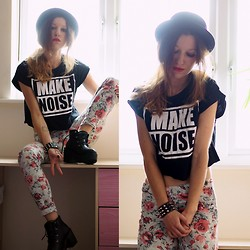 Agata P - Make Noise Cropped T Shirt, Asos Floral Pants, Boots - MAKE NOISE