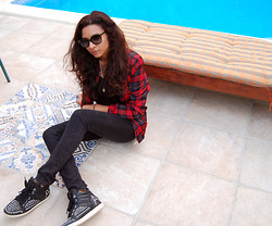 May Nicole H. - Prada Sunnies, Zara Tartan Jacket, H&M Snakeskin Jeans, Ash Footwear Studded Sneakers, Adam Elwan Hand Of Fatima Necklace, Cartier Gold Ring - Got tartan?