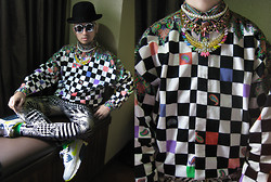 Andre Judd - Versace Corduroy Checkerboard Print With Paisley Button Down Shirt, The Nerve Clothing Crystal Eagle Neckpiece, The Urban Hour Stripe And Diamond Print Trousers, Bowler Hat, Nike Airmax 90 - ARCADIA